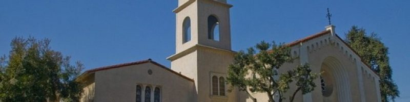 Campus image with bright blue sky of at Bay Shore Community Congregational Church (UCC) in Long Beach, California