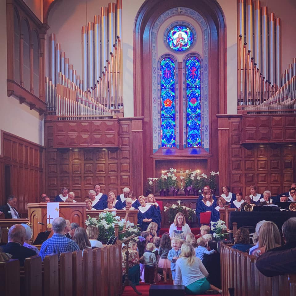 Children's sermon ministry image at Bay Shore Church sanctuary