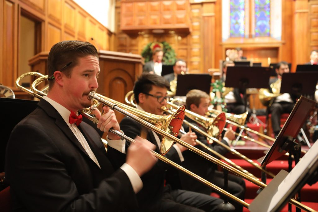 Trombones at Bay Shore Church brass concert