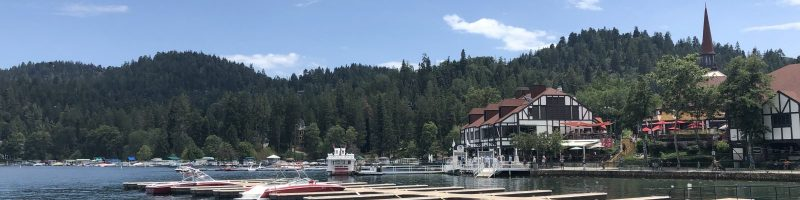 Boats in water near Lake Arrowhead, CA