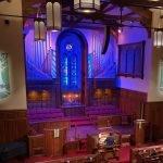 organ concert blue lit organ pipes at Bay Shore Community Congregational Church (UCC) in Long Beach, CA
