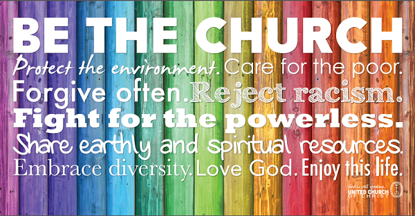 Be The Church with rainbow background